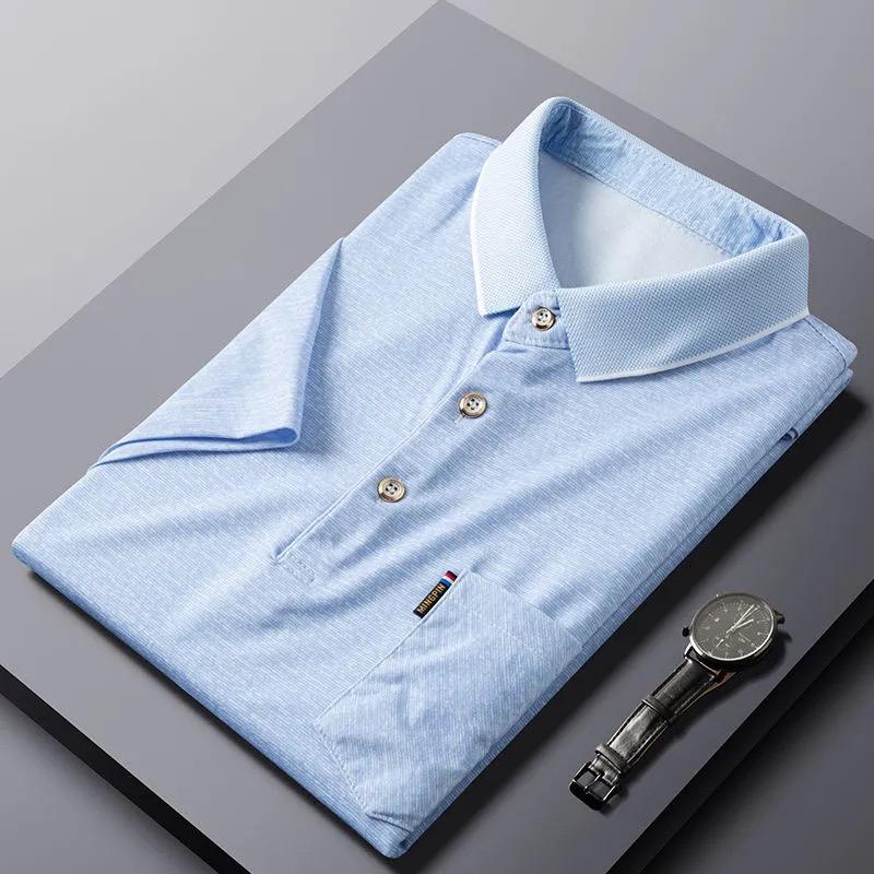 fzop大码polo爸爸夏装短袖T恤男冰丝上衣中老年男士大码体恤宽松