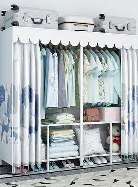 折叠免安装窗帘式简易布衣柜简约钢管加粗加固高承重出租房家用