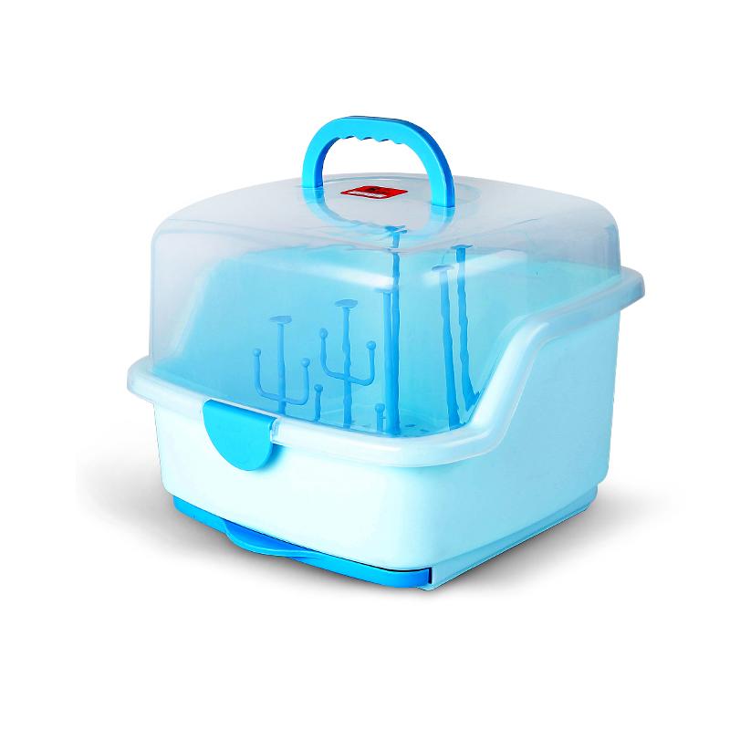 婴儿奶瓶收纳箱放宝宝餐具收纳盒用品晾干沥水干燥架防尘便携大号