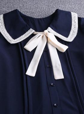 百褶雪纺连衣裙女2021新款夏装翻领中长款遮肚减龄显瘦小个子裙子
