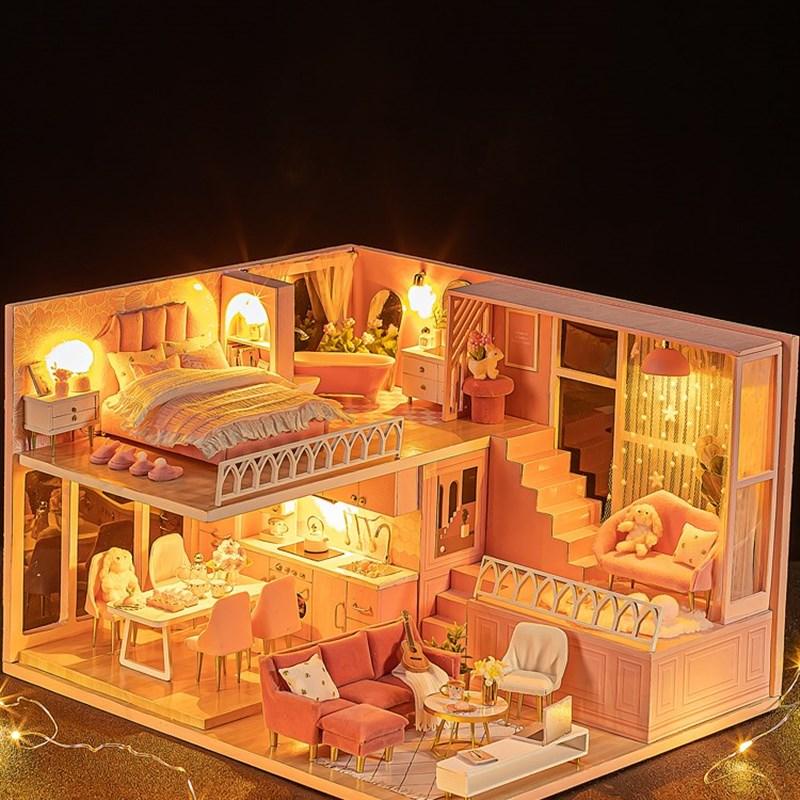 芭比娃娃套装女孩k公主玩具屋房子生日礼物手工迷你厨房儿童玩具