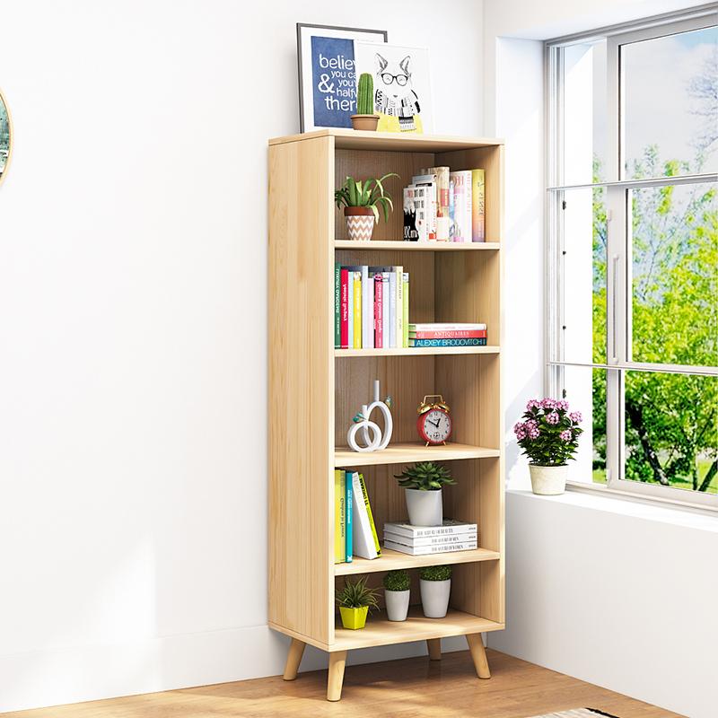 简易书架置物架落地实木儿童组合小书柜子现代学生多层储物收纳柜
