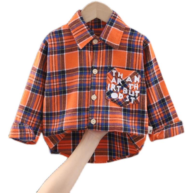儿童衬衫男童女童衬衣春秋款2021新款小童休闲衣服宝宝格子上衣潮