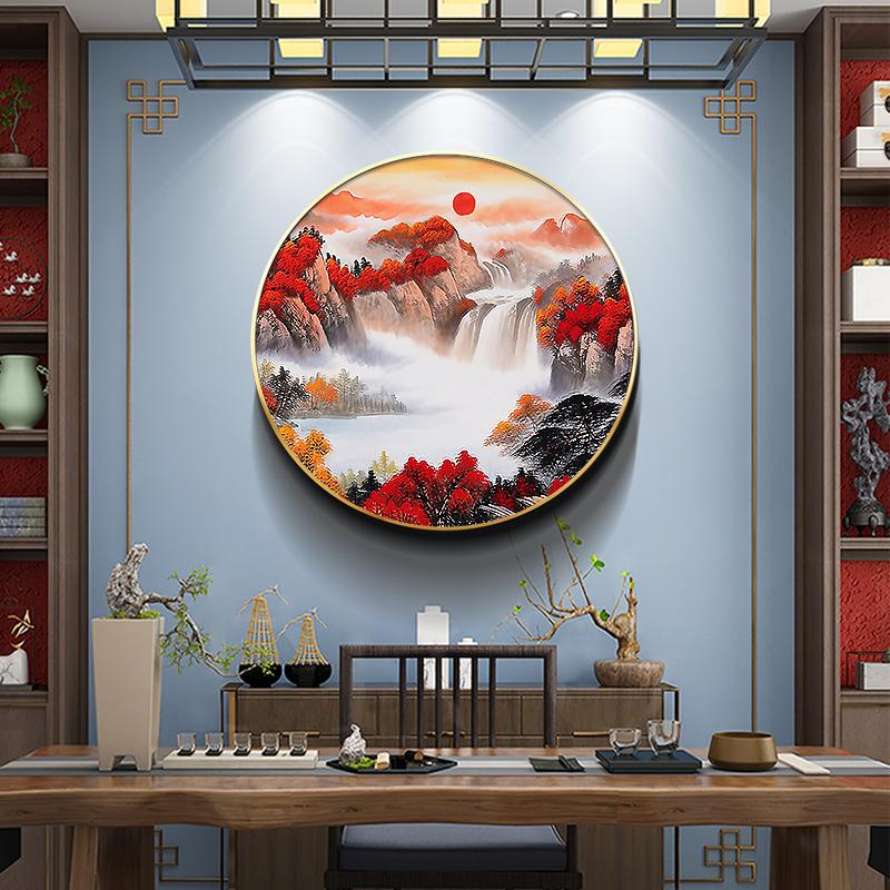 新中式圆形装饰画中国风背景墙挂画走廊过道玄关壁画茶室鸿运当头