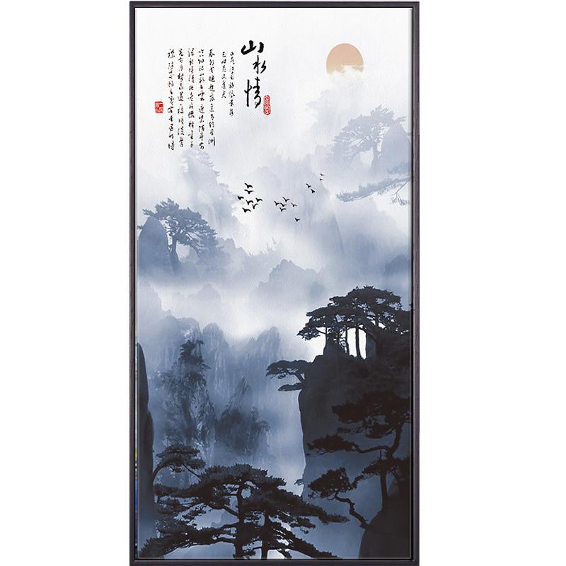 新中式中國風山水風景豎版玄關裝飾掛畫走廊過道背景墻畫客廳壁畫