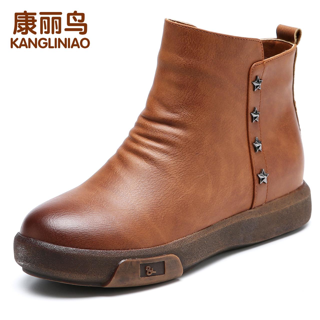 马丁靴女鞋冬季短靴子加绒保暖平底雪地靴防滑孕妇中老年妈妈棉鞋
