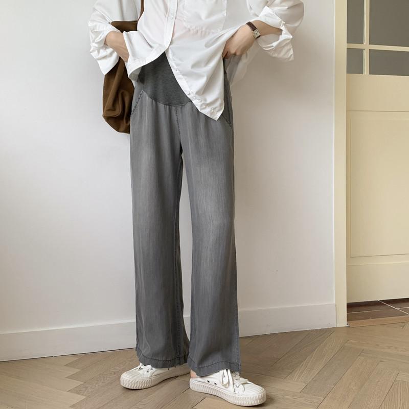 孕妇阔腿裤春夏季薄款垂感外穿宽松直筒天丝孕妇牛仔裤托