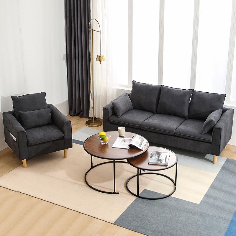 北欧布艺双人沙发小户型三人客厅租房公寓服装店网红款简约现代【图2】