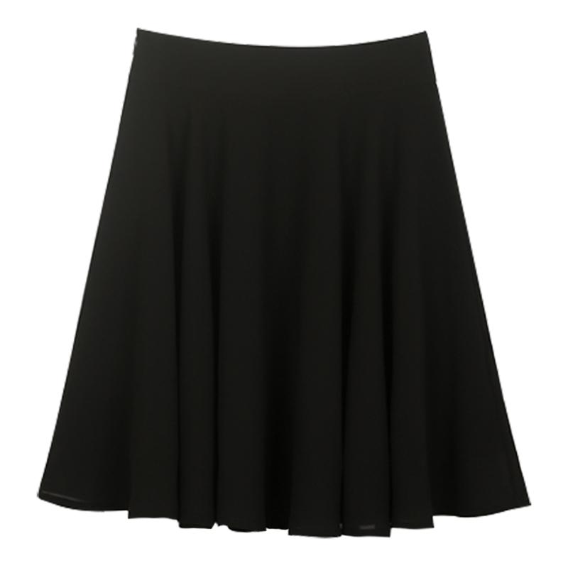 夏季新款雪纺半身裙a字裙高腰黑色短裙百褶裙大摆裙子半裙伞裙女