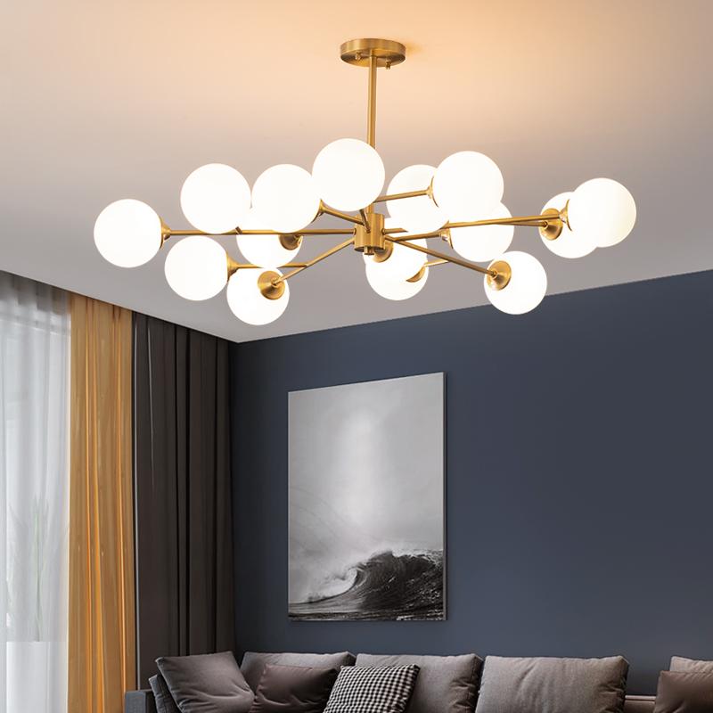 北欧全铜大气家用客厅吊灯后现代简约卧室灯创意个姓魔豆分子灯具