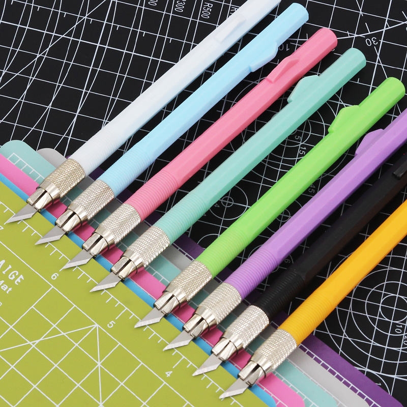 手账小黑彩色手工剪纸刻刀学生专用套装刻纸雕刻刀纸模型工具美术笔刀裁纸纸雕刀橡皮章手机膜刀