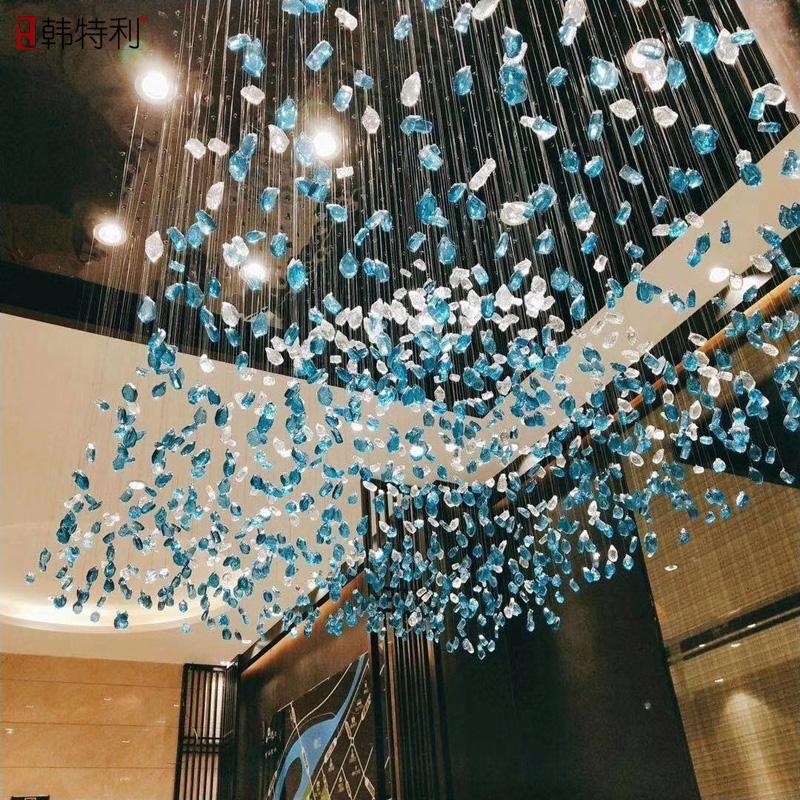 酒店大堂水晶灯售楼部沙盘定制工程灯店铺大厅水晶吊灯冰块灯商用