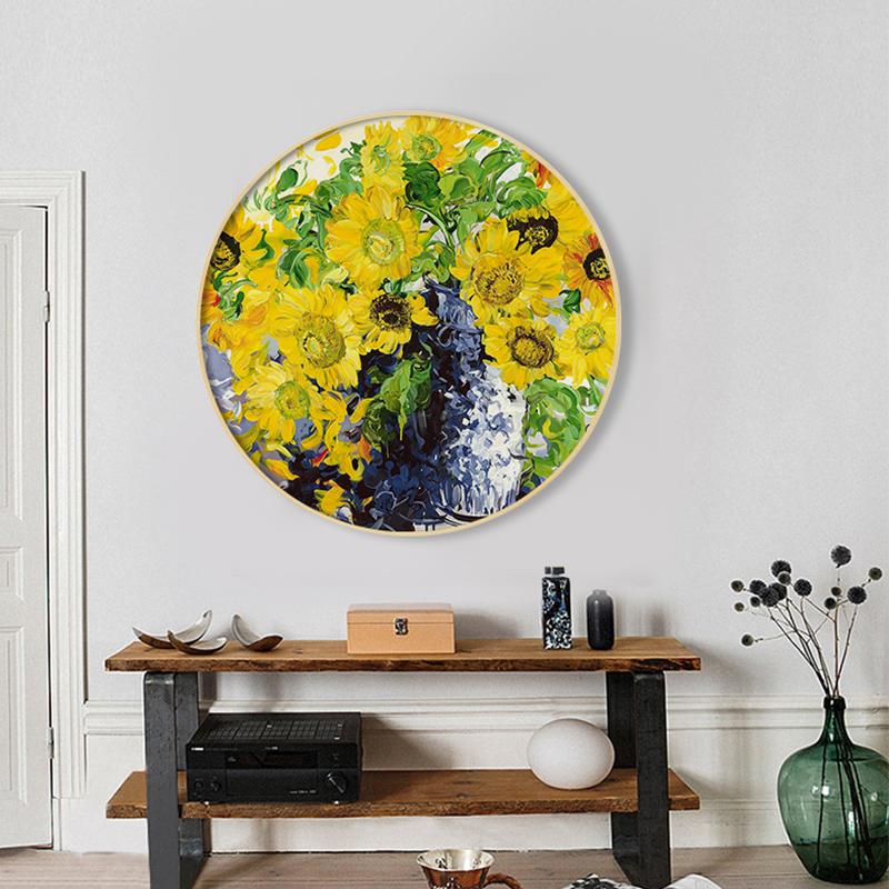 现代简约餐厅卧室客厅装饰画圆形纯手绘油画花卉抽象三联挂画玄关