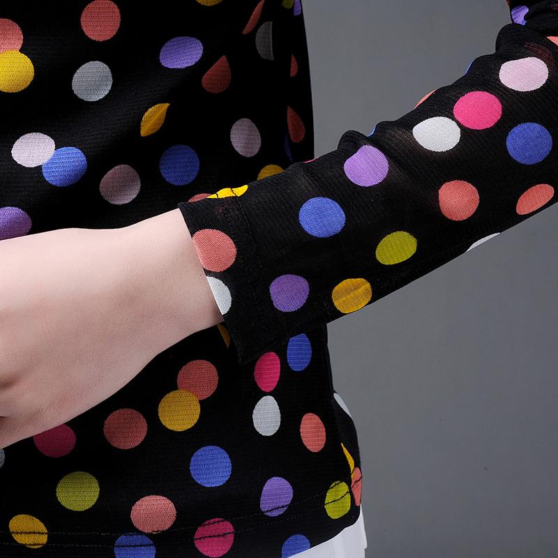 美哥弟 妮亚女装 2018夏装正版韩版修身显瘦优雅气质长袖圆点衬衫