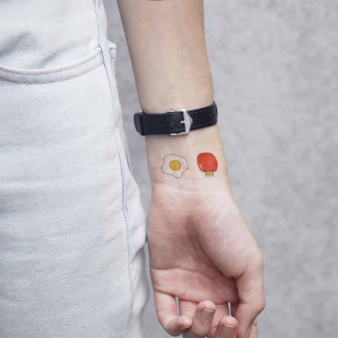 【PATOO怕痛】原创防水纹身贴 番茄炒蛋 Tomato & Egg 情侣西红柿