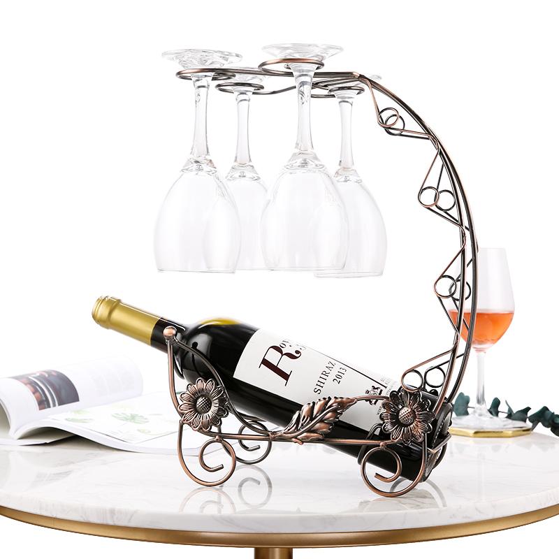 红酒架摆件架子高脚红酒杯架倒挂家用欧式创意酒柜装饰葡萄酒架瓶