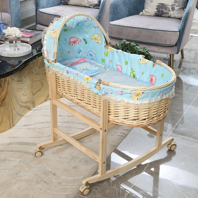 新生儿婴儿篮 便携式手提篮藤编睡篮车载婴儿床环保亲子摩西摇篮