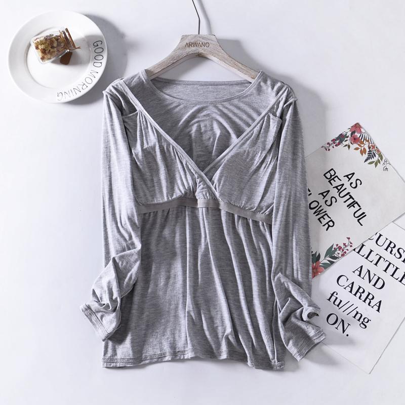 四季款孕妇产后月子服单件喂奶衣外出长袖哺乳t恤上衣秋