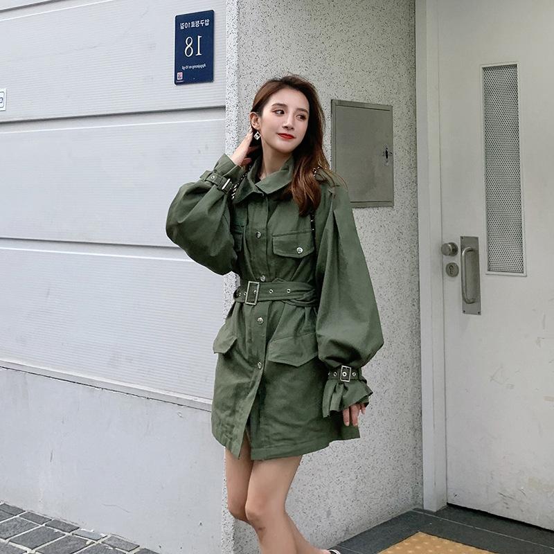 港风外套女韩版宽松 秋新款韩版时尚气质衣女中长款小个子风衣  2019