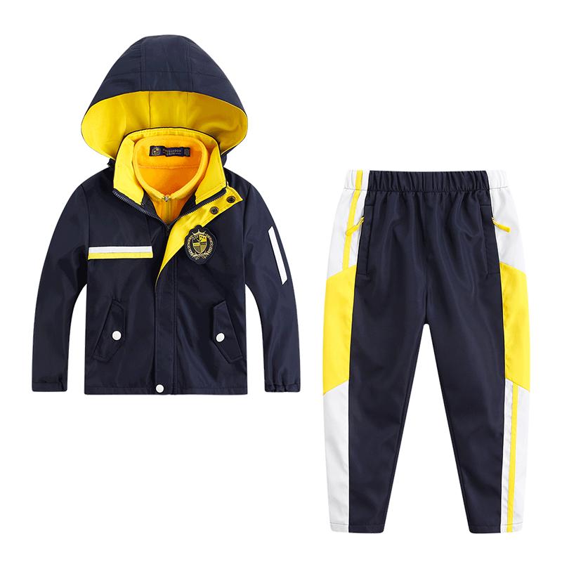 幼儿园园服春秋装三件套儿童冲锋衣冬季校服套装小学生班服运动服