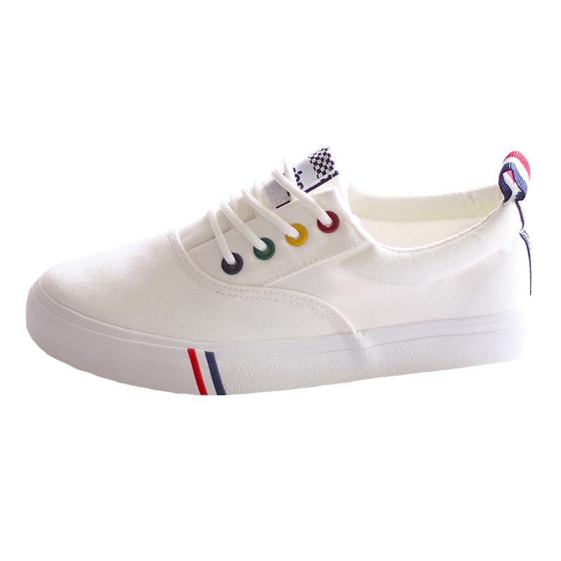 帆布鞋女生百搭休闲中学生球鞋2019新款韩版潮流秋季平底小白鞋子