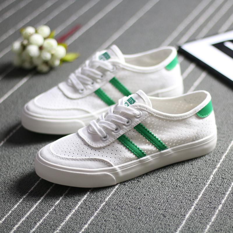人本帆布鞋女网眼透气球鞋天猫2019夏季新款韩版网面镂空小白鞋子