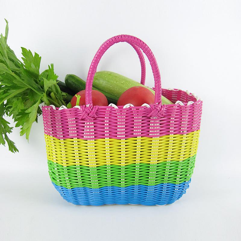 特大塑料編織收納菜籃子買菜購物籃手提藍寵物框化妝品沐浴洗浴筐