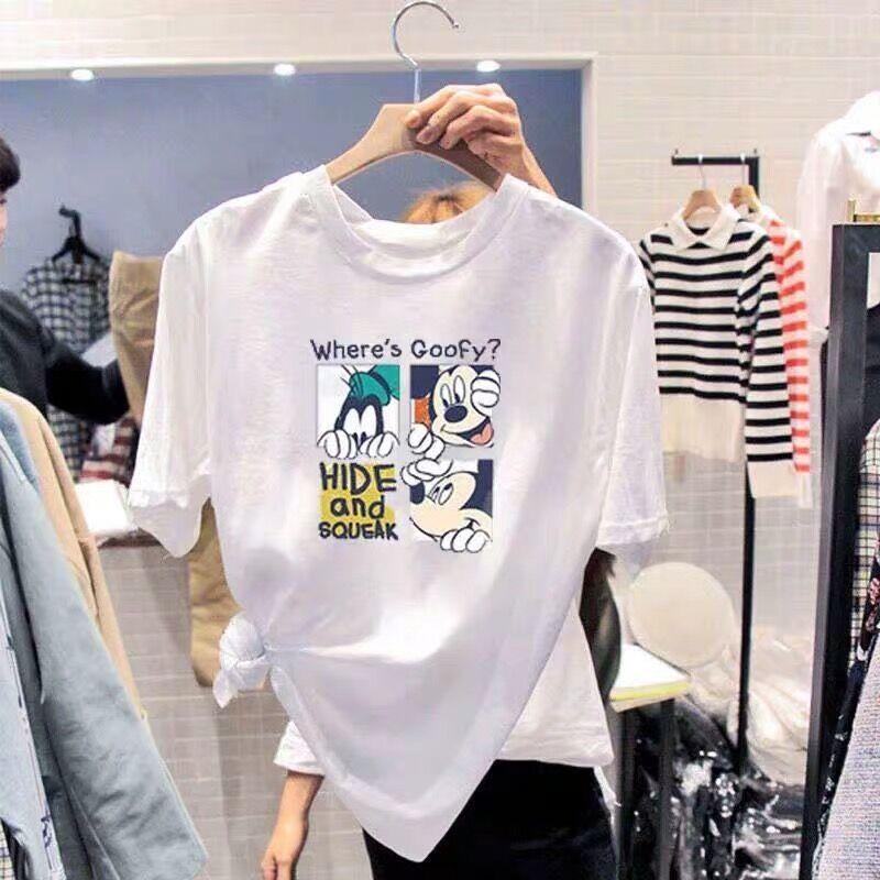 情侣t恤女2020新款夏季宽松韩版学生超火的ins卡通白色短袖上衣潮