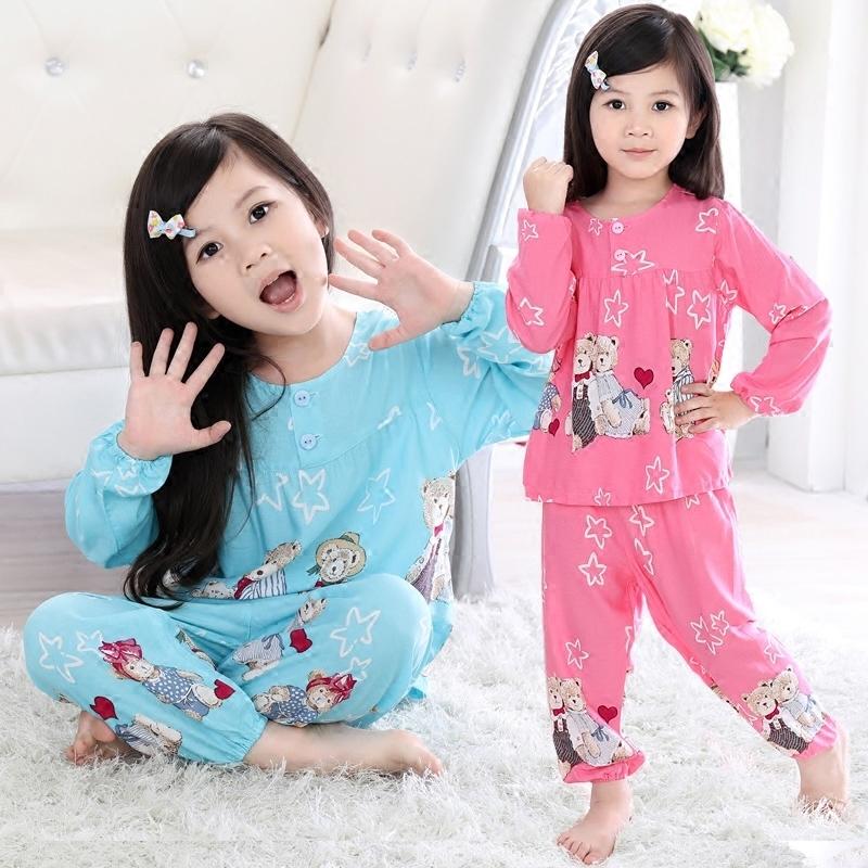 夏小女孩宝宝纯棉绸空调薄款中大童儿童睡衣绵绸长袖套装春秋公主