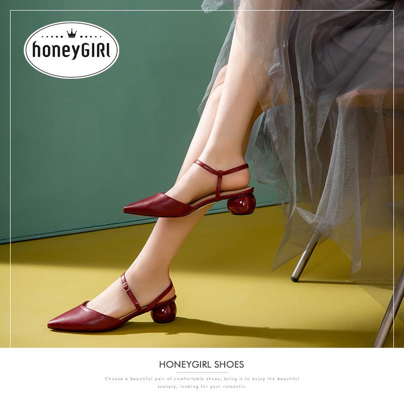 夏季新款包头凉鞋女仙女风尖头鞋子粗跟网红高跟鞋 honeyGIRL2019