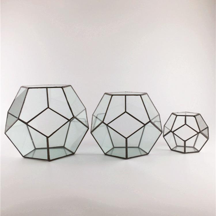 幾何玻璃罩花房咖啡廳擺件微景觀多肉植物永生花瓶器創意飾品工藝