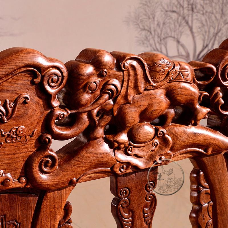 王木匠 实木非洲黄花梨木沙发 红木象头新中式客厅家具组合 特价