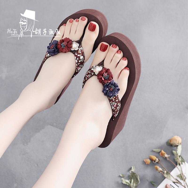 时尚高跟拖鞋女夏外穿坡跟防滑新款厚底人字拖海边沙滩夹脚凉拖鞋