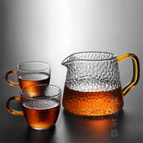 Japanese hammered fair cup heat-resistant thickened glass tea dispenser with tea leak filter Kung Fu tea set