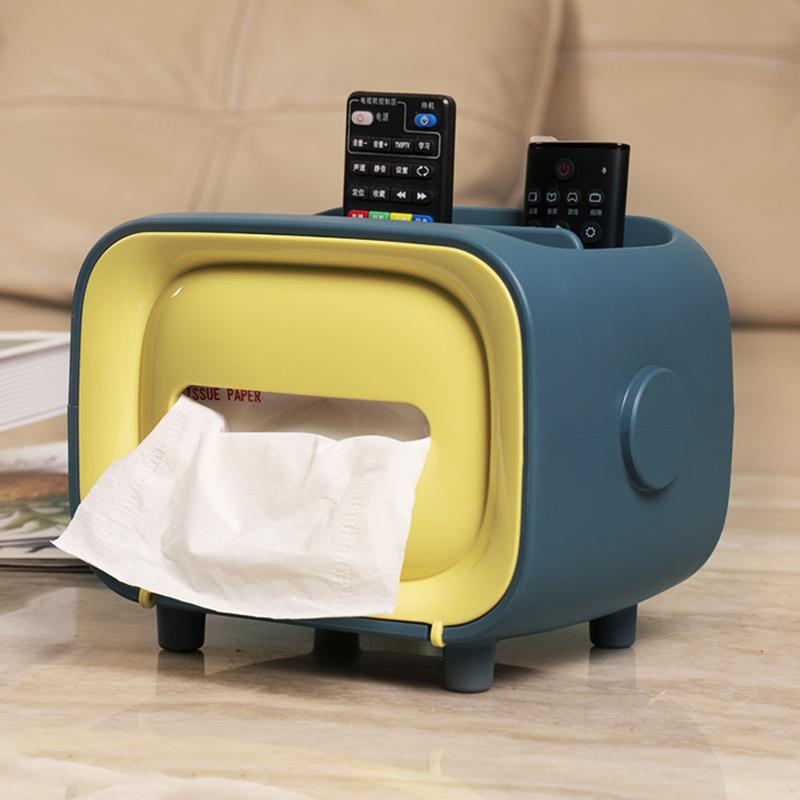抵现红包:收纳猫 复古电视机多功能纸巾盒