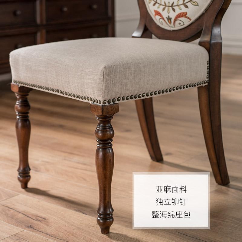 巢趣美式经典软包实木餐椅 现代简约家用餐厅靠背成人椅凳书桌椅