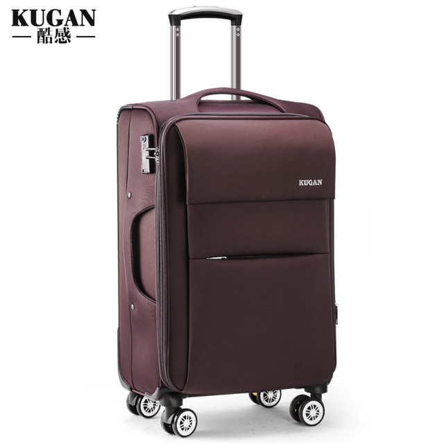 Cool universal wheel trolley box Oxford cloth suitcase bag luggage canvas student men and women leather box 20 inch 24