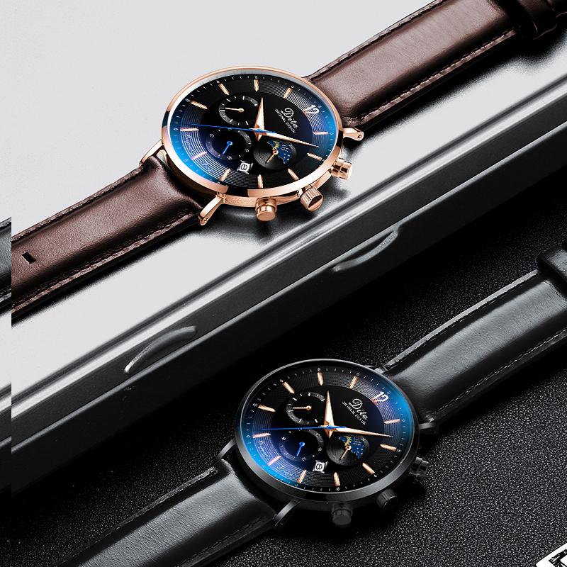 迪塔 新款真皮帶機械表手表男士學生韓版潮防水概念石英表男表  2019