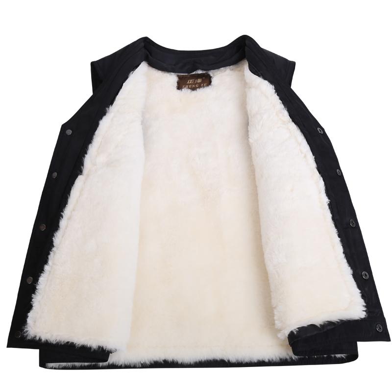 秋冬季羊毛马甲皮毛一体中老年男士羊皮背心加厚保暖棉坎肩爸爸装