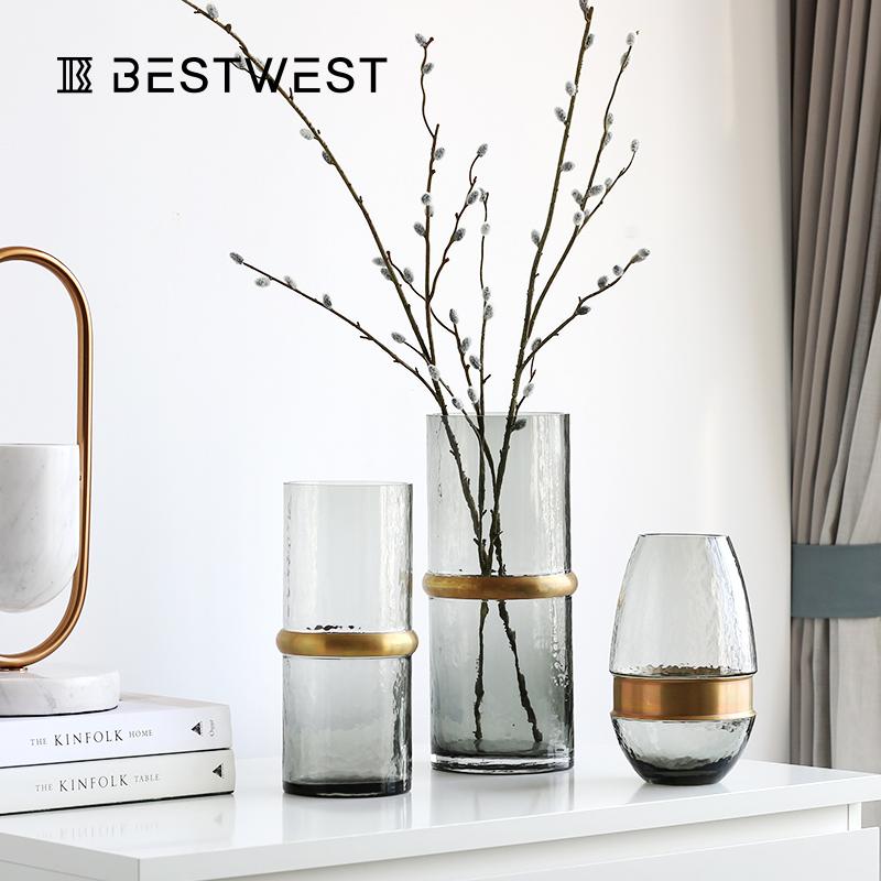 轻奢玻璃花瓶透明摆件现代简约客厅干花装饰品餐桌鲜花插花瓶创意