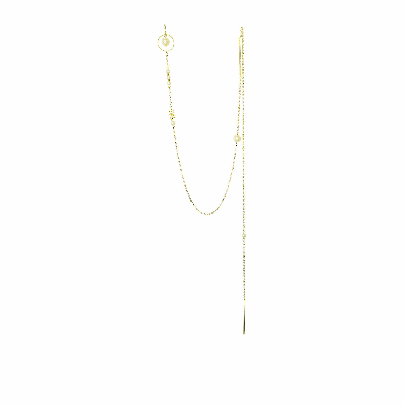 金九九独立设计原创复古优雅珍珠包金超长绕脖项链一体式耳环耳钩