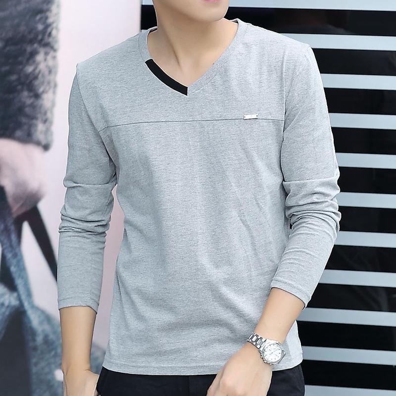 男士纯棉长袖t恤上衣服男装打底衫潮流韩版加绒秋衣潮牌秋季短袖主图