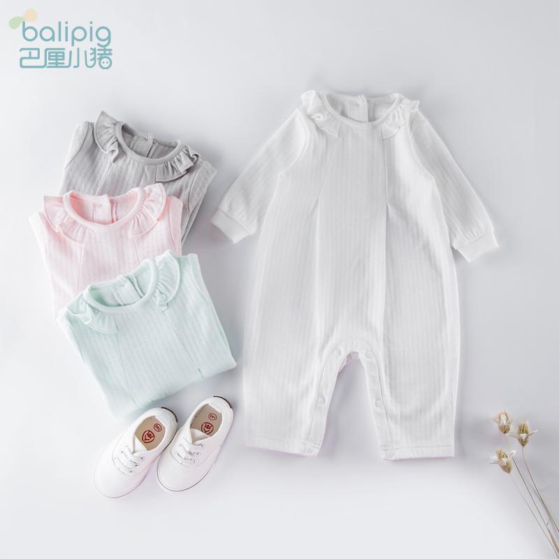 女婴儿连体衣服春秋装男宝宝外出哈衣公主0一1岁3个月2纯棉6春季
