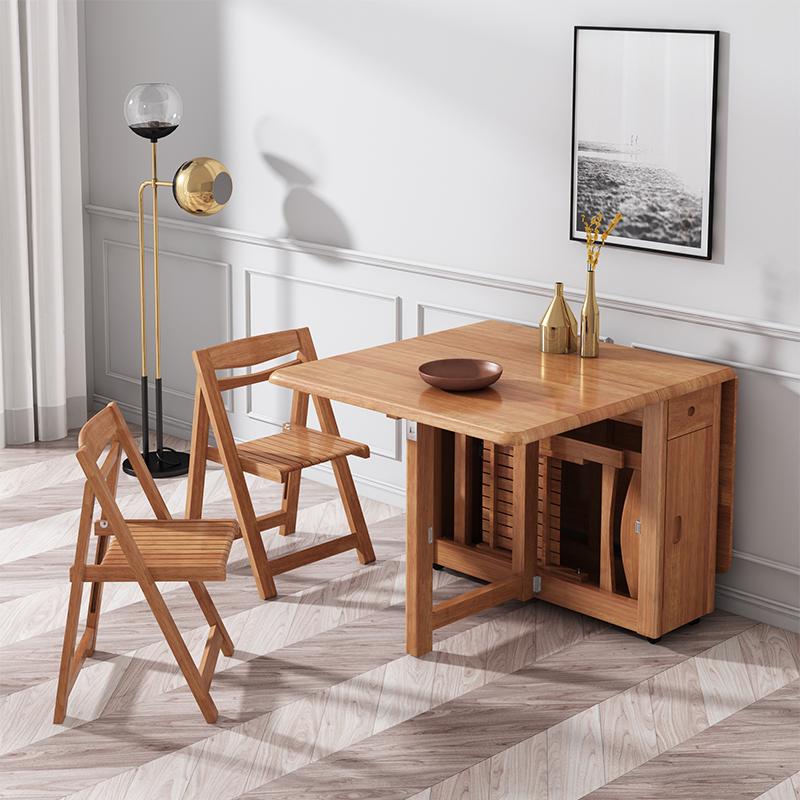 实木餐桌中式折叠伸缩小户型家用餐桌椅组合现代简约长方形饭桌子
