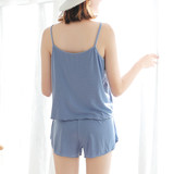 Modal female summer vest sexy pajamas two-piece thin loose strap shorts fat MM large size home service suit