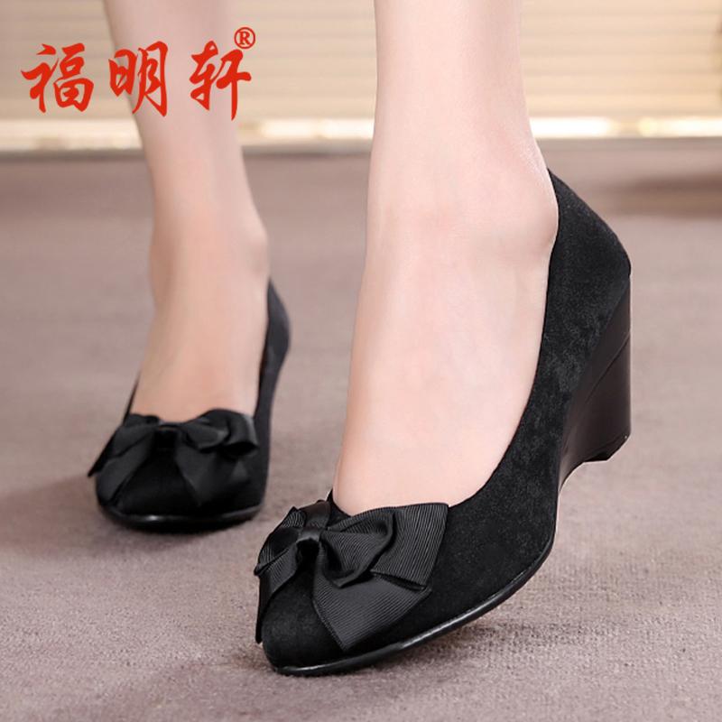 老北京布鞋女鞋套腳時尚舒適女工裝鞋坡跟鞋工作鞋黑色單鞋淺口鞋