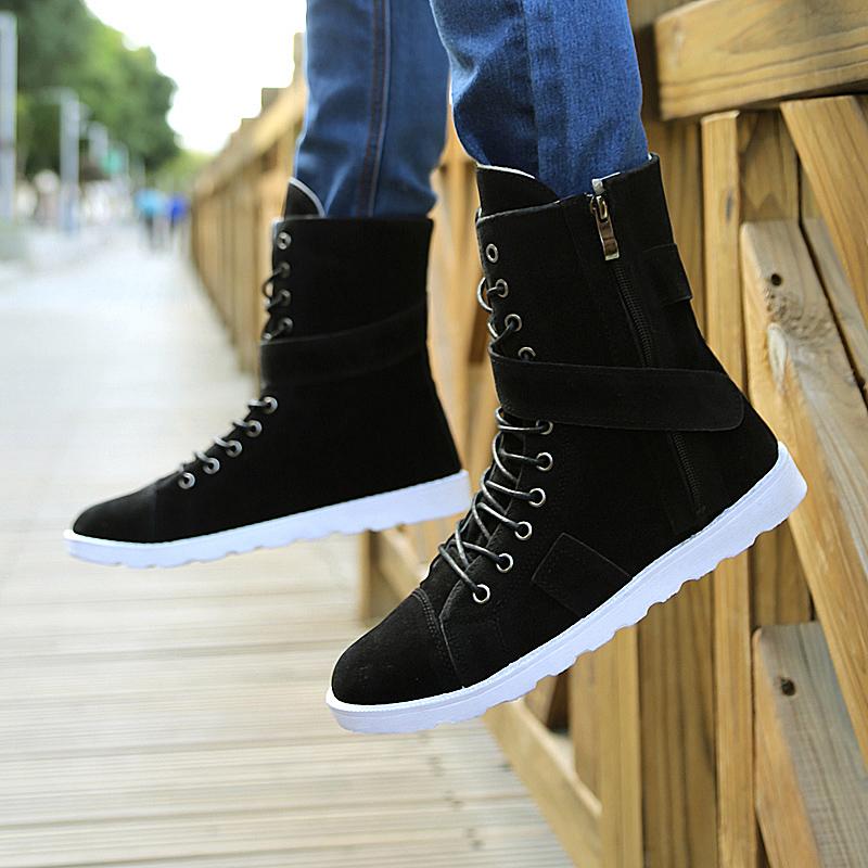 春秋季男士高帮马丁靴中筒男靴子韩版潮男鞋军靴牛仔靴个性长筒靴