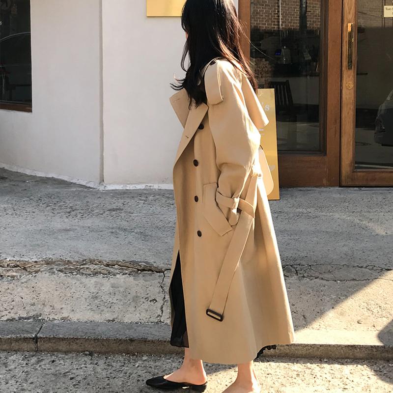 春秋新款  流行宽松女装潮 ins 韩版中长款风衣外套小个子卡其色 2019