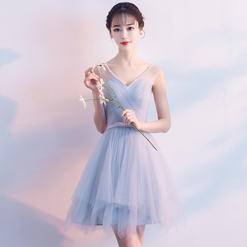 伴娘服2019新款夏季短款灰色伴娘团小礼服姐妹裙婚礼显瘦晚礼服女