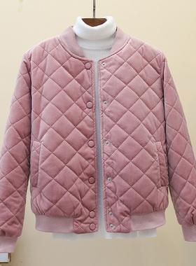2020新款冬季韩版菱格bf棒球服棉衣外套女短款金丝绒原宿小棉服潮